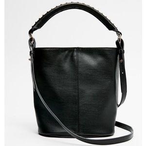Studded mini bucket bag
